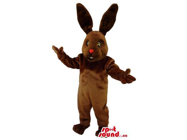 Brown Bunny Animal Canadian SpotSound Mascot With Red Nose And Long Ears
