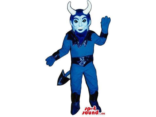 Halloween Flashy All Blue Devil Canadian SpotSound Mascot With Large White Horns
