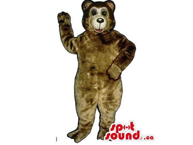 Customised All Brown Plush Bear Forest Canadian SpotSound Mascot With Happy Face
