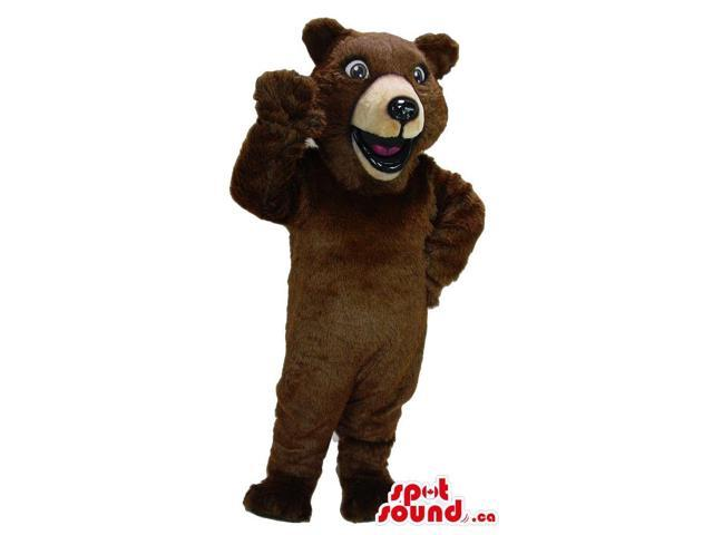 Cute Large Brown Bear Forest Plush Canadian SpotSound Mascot With Fun Face