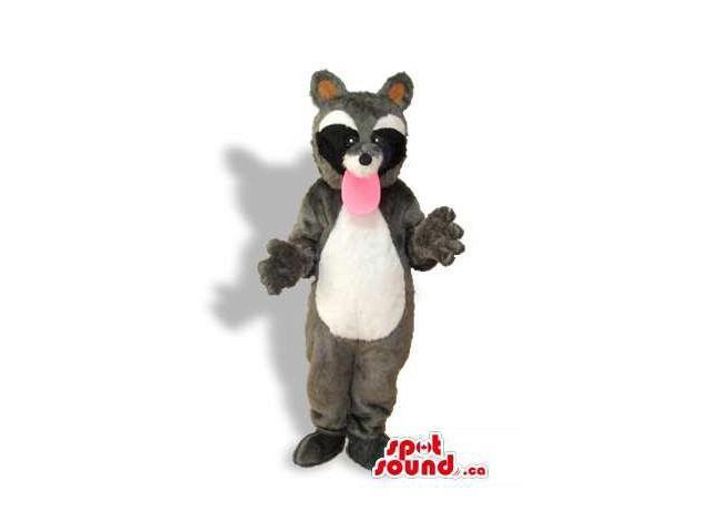 Grey Raccoon Animal Plush Canadian SpotSound Mascot With A Long Pink Tongue