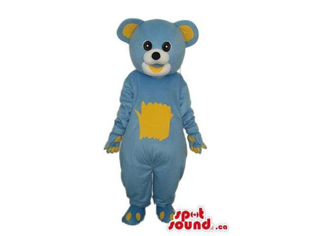 Cute Blue And Yellow Teddy Bear Forest Plush Canadian SpotSound Mascot