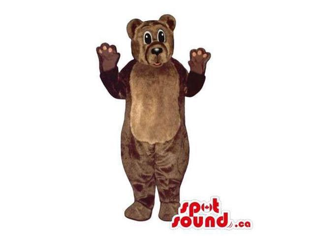 Customised All Brown Plush Bear Forest Canadian SpotSound Mascot With Belly