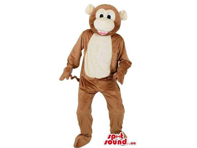 Customised Brown Plush Monkey Animal Canadian SpotSound Mascot With A Beige Belly