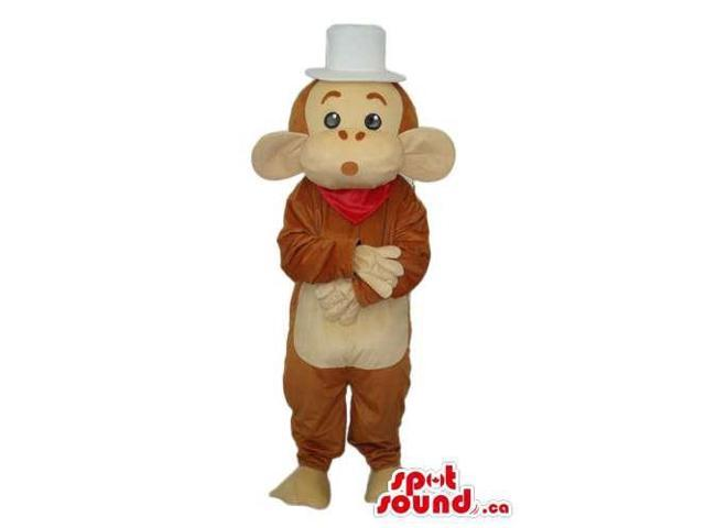 Brown And Beige Monkey Animal Plush Canadian SpotSound Mascot With A White Top Hat