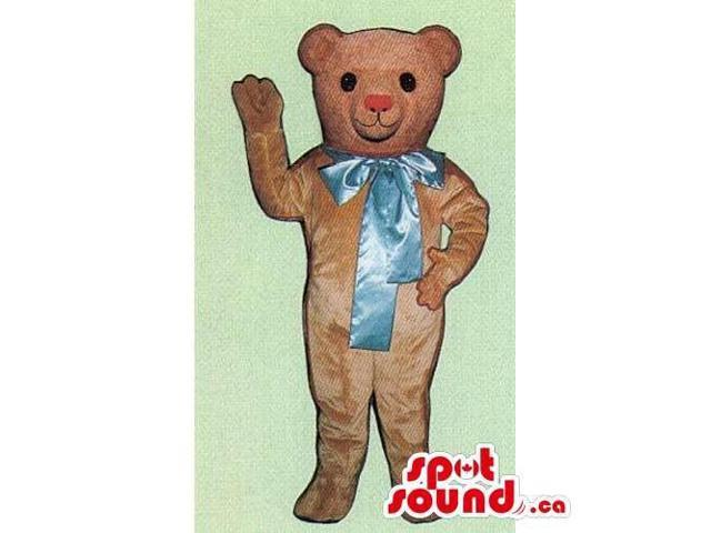 Light Brown Teddy Bear Canadian SpotSound Mascot With Large Blue Ribbon