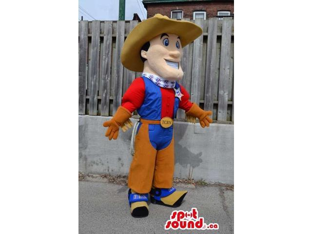 Human Character Canadian SpotSound Mascot Dressed In Sheriff Clothes And A Hat