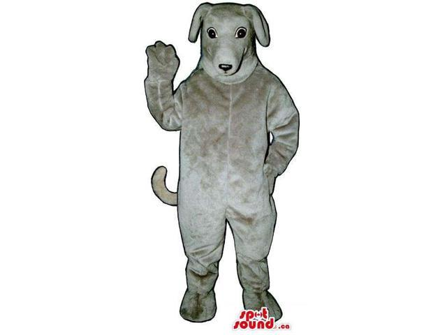 All Grey Dog Plush Animal Pet Canadian SpotSound Mascot With Bent Ears