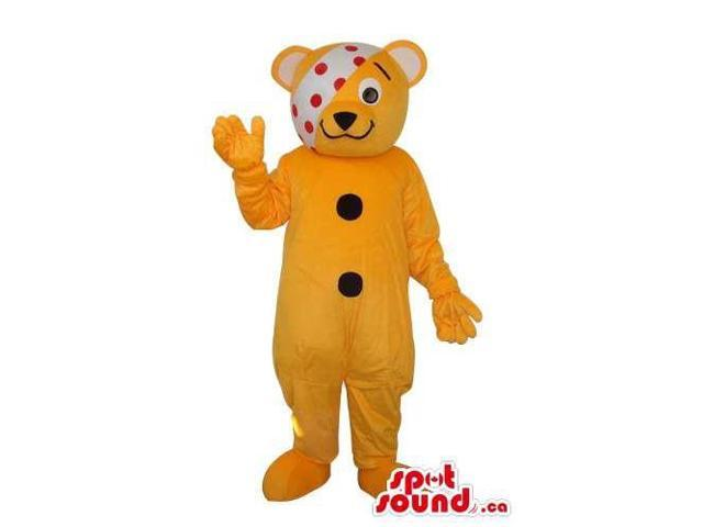 Cute Yellow Teddy Bear Plush Canadian SpotSound Mascot With A Bandage Over Its Eye