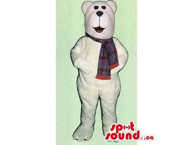 Customised All White Polar Plush Bear Canadian SpotSound Mascot With Scarf
