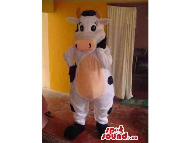 Customised Cute All White And Black Cow Plush Canadian SpotSound Mascot