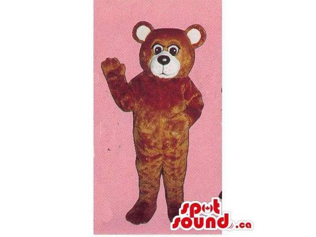 Customised Brown Plush Bear Forest Canadian SpotSound Mascot With White Face