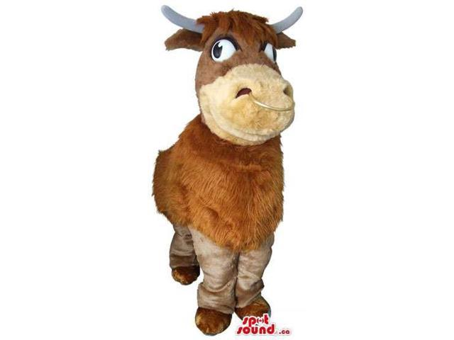 Customised Brown Woolly Cow Plush Canadian SpotSound Mascot With Lazy Eyes