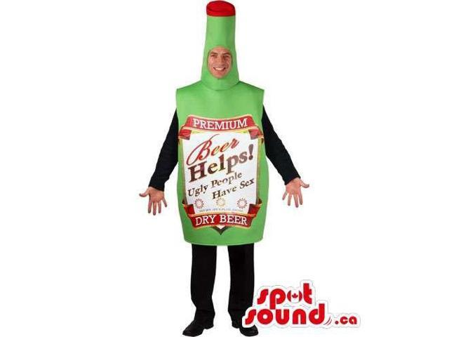 Hilarious Green Beer Bottle Adult Size Costume With Label