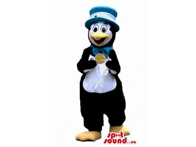 Peculiar Penguin Plush Canadian SpotSound Mascot In A Bow Tie And Hat With A Badge