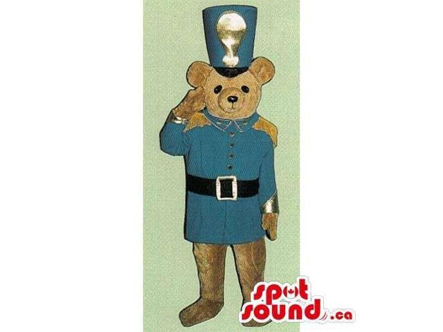 Light Brown Teddy Bear Toy Canadian SpotSound Mascot With Soldier Blue Uniform