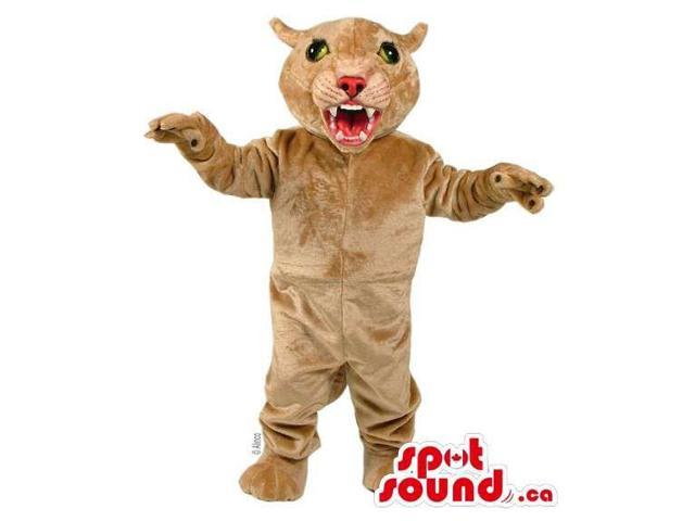 Furious Wildcat Canadian SpotSound Mascot In Beige Showing Its Sharp Teeth