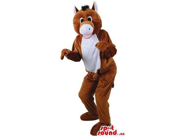 Customised Brown Donkey Plush Canadian SpotSound Mascot With White Belly