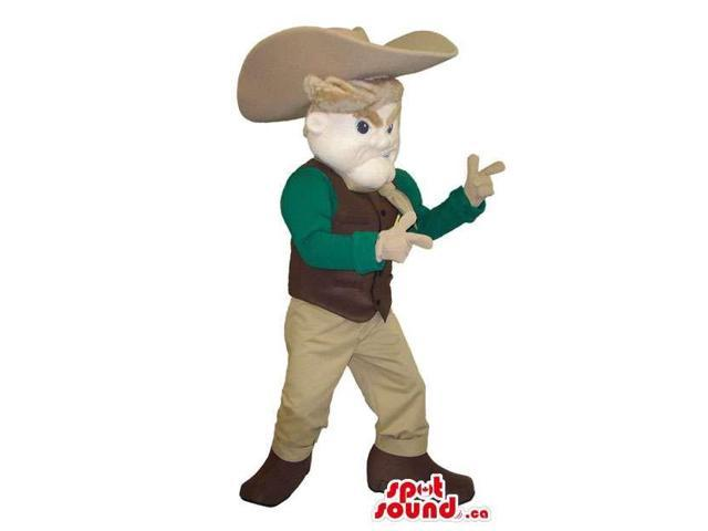 Cowboy Character Canadian SpotSound Mascot With Green And Beige Gear And Hat