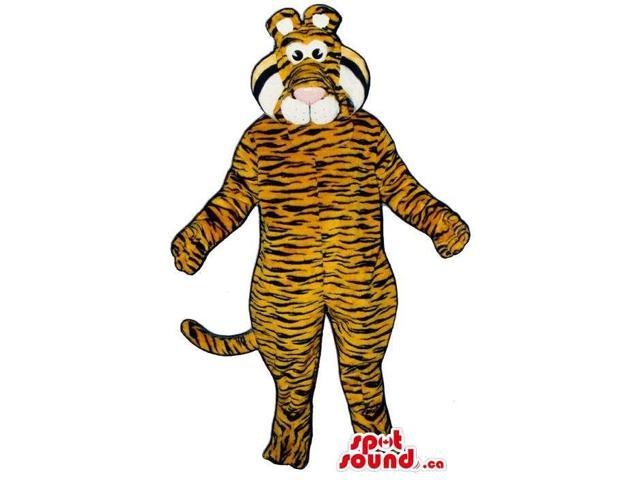 Tiger Plush Canadian SpotSound Mascot Or Adult Costume With Thin Black Lines