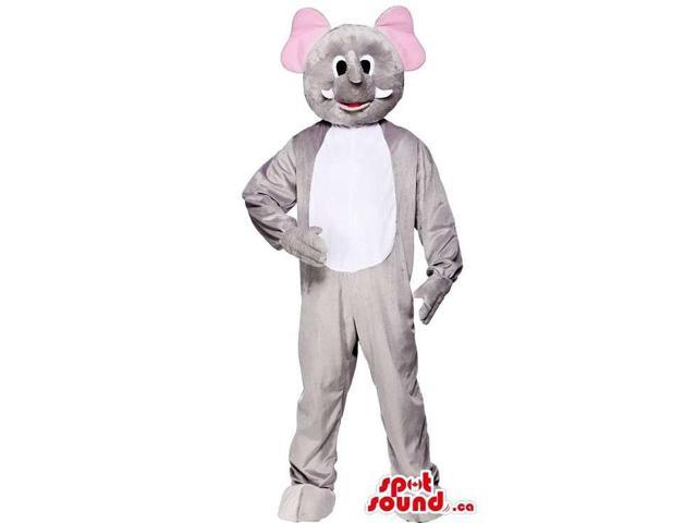 Customised Grey Elephant Canadian SpotSound Mascot With A White Belly And Pink Ears