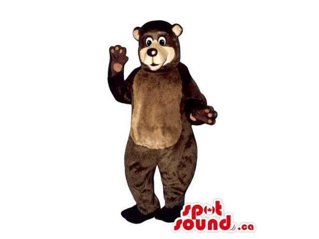 Customised Brown Plush Bear Forest Canadian SpotSound Mascot With Brown Belly
