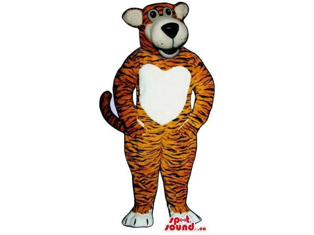 Customised Tiger Plush Canadian SpotSound Mascot With A White Heart Belly