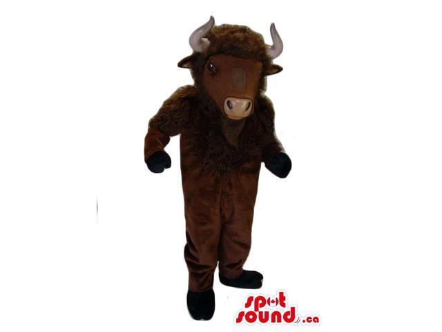 Dark Brown Buffalo Animal Plush Canadian SpotSound Mascot With White Horns