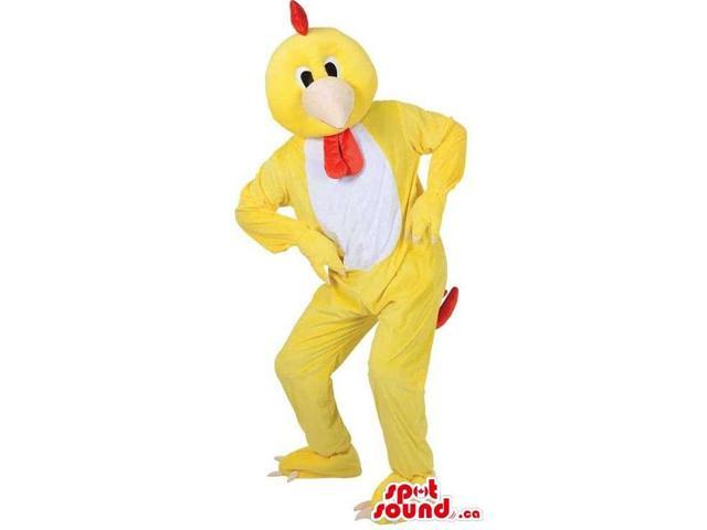 Customised Peculiar Yellow Hen Canadian SpotSound Mascot With A White Belly