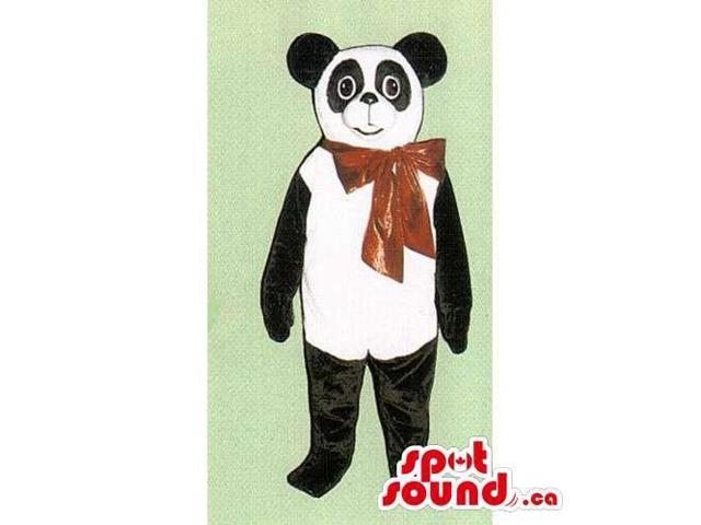 Customised Panda Bear Forest Canadian SpotSound Mascot With Red Large Ribbon