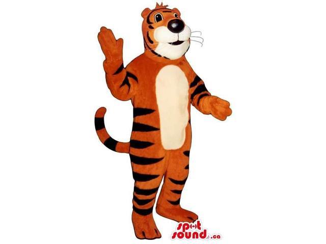 Customised Large Tiger Plush Canadian SpotSound Mascot With A White Face And Belly