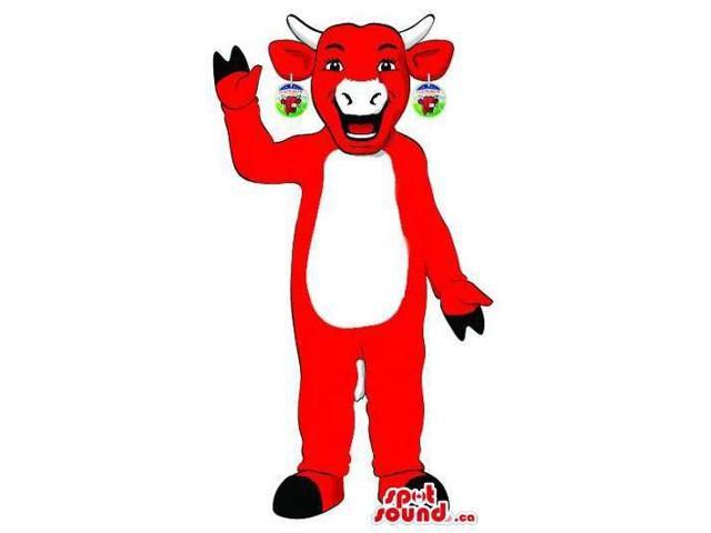 Well-Known Red Cow Plush Canadian SpotSound Mascot Advertising A Cheese Brand