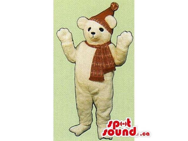 Beige Teddy Bear Canadian SpotSound Mascot Dressed In A Winter Hat And Scarf