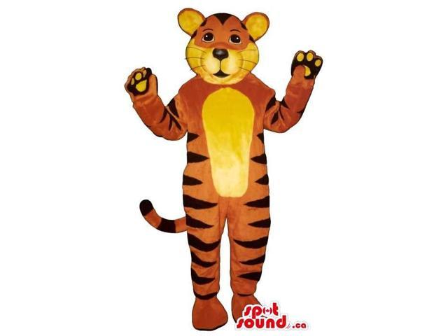 Customised Tiger Plush Canadian SpotSound Mascot With A Yellow Belly