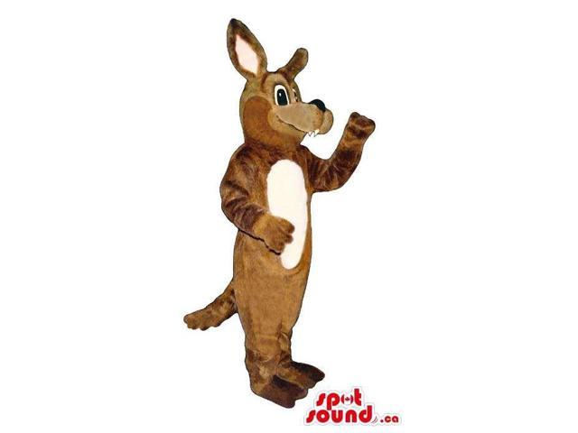 Brown Kangaroo Plush Animal Canadian SpotSound Mascot With A White Belly