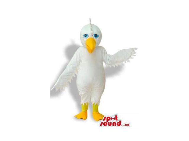 Cute All White Bird Plush Canadian SpotSound Mascot With A Yellow Beak