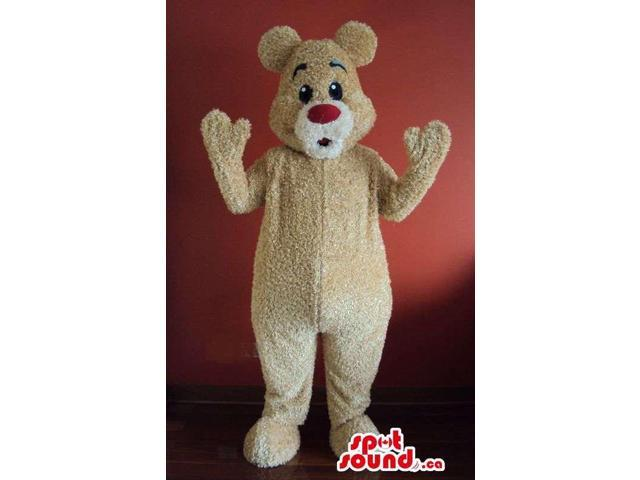 Light Brown Teddy Bear Forest Canadian SpotSound Mascot With Red Nose