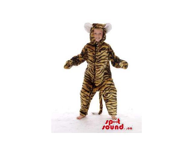 Brown Tiger With Black Stripes Plush Children Size Costume