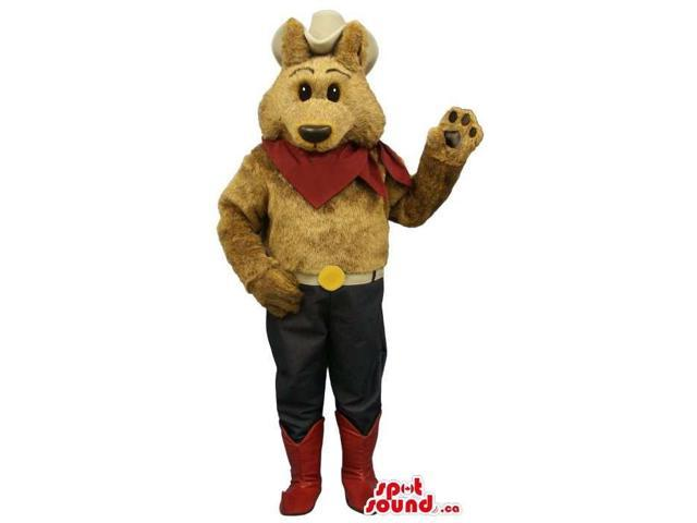 Brown Bear Cowboy Plush Canadian SpotSound Mascot With A Large Hat And Red Neck Scarf