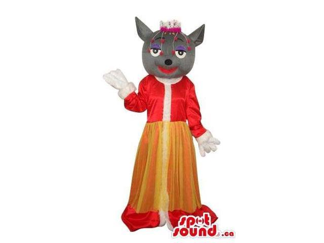 Great Grey Girl Cat Animal Plush Canadian SpotSound Mascot With Exotic Red Clothes
