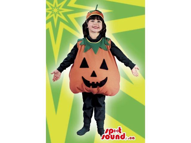 Cute Halloween Pumpkin Children Size Costume With Hat