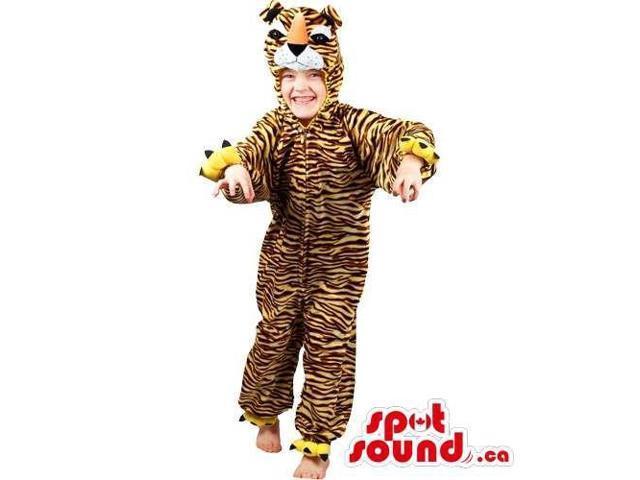 Yellow Tiger With Black Stripes Plush Children Size Costume