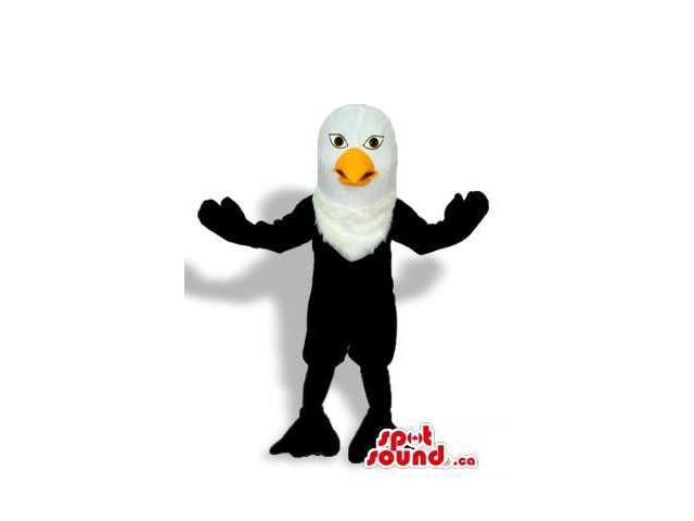Customised Cute All Black And White Eagle Bird Plush Canadian SpotSound Mascot