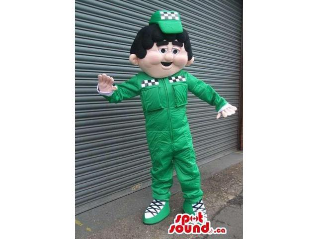 Car Workshop Boy Canadian SpotSound Mascot With Green Gear And A Cap