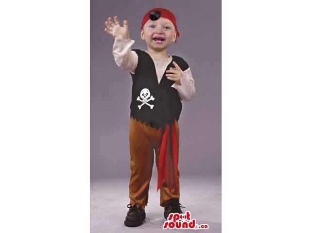 Cute Pirate Children Size Costume With A Hat And A Skull