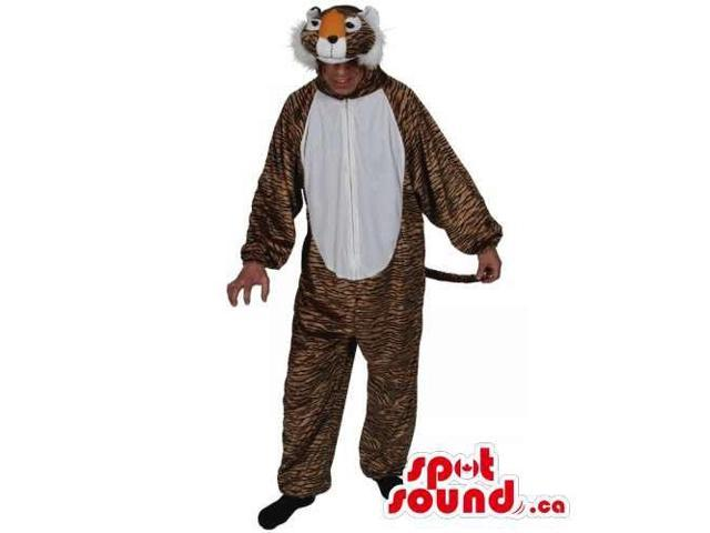 Tiger With Black Stripes Plush Adult Size Costume Or Canadian SpotSound Mascot