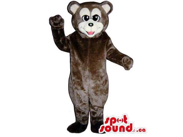 Customised All Brown Bear Canadian SpotSound Mascot With White Face And Ears