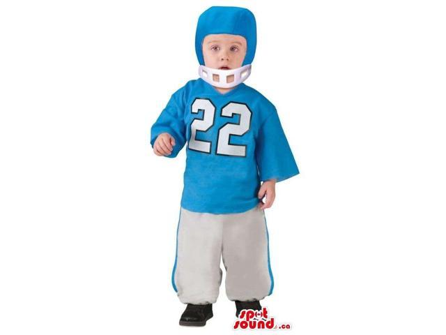 Blue And White Football Or Rugby Player Children Size Costume