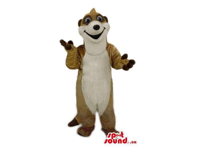 Cute Brown Otter Animal Plush Canadian SpotSound Mascot With A Long White Belly