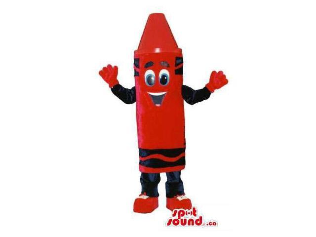 Customised Large Red Crayon Canadian SpotSound Mascot With Peculiar Face